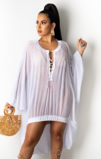 Summer White Lace-Up Transparente High Low Dress Cover-Up