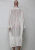 Summer White Schnürung Transparent High Low Dress Cover-Up