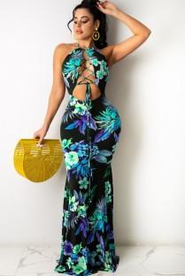 Летнее сексуальное длинное платье на шнуровке с цветочным принтом