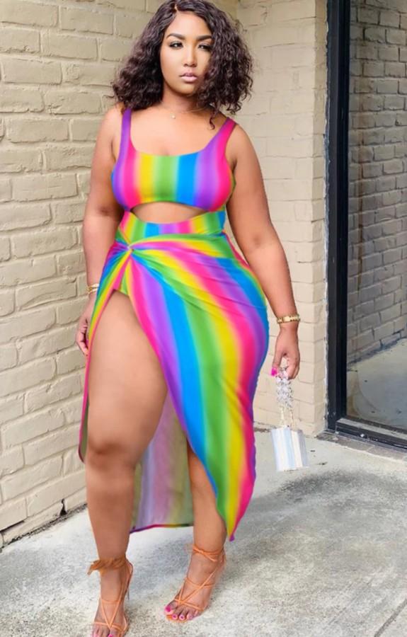 Top corto estivo sexy arcobaleno e gonna lunga irregolare