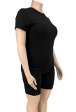 Set 2 pezzi camicia nera casual e pantaloncini estivi taglie forti