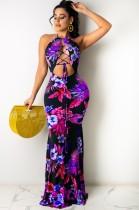 Sommer Sexy Schnür-Floral Halfter Langes Kleid