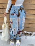 Spring Casual Print Africa Tassels Trousers