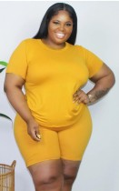 Summer Plus Size Casual Yellow Shirt and Shorts Conjunto de 2 piezas