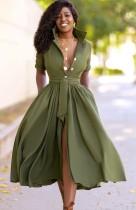 Summer Green Formal Long Skater Dress with Belt