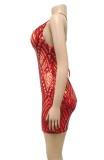 Mini abito aderente sexy senza schienale con paillettes rosse estive