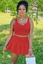 Yaz Günlük Kırmızı Kırpma Üst ve Pileli Mini Etek Seti