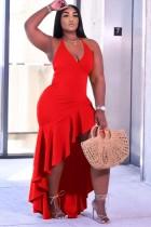 Sommer formelle rote unregelmäßige Rüschen Halfter langes Kleid