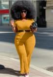 Set 2 pezzi di top e pantaloni formali gialli taglie forti estive