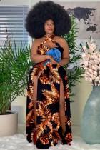 Летнее длинное платье больших размеров с принтом и разрезом по бокам