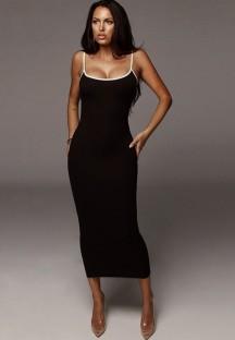 Vestido comprido verão preto elegante com nervuras estreitas com alças finas