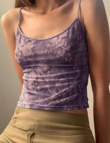 Summer Sexy Purple Floral Basic Strap Vest