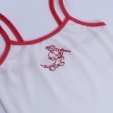 Gilet con cinturino sexy in maglia bianca con stampa casual estiva