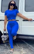 Sommer lässiges blaues Crop Top und gestapelte Hose 2-teiliges Matching-Set