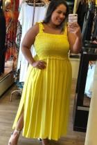 Summer Plus Size Langes Kleid mit gelbem Riemen und seitlichem Schlitz