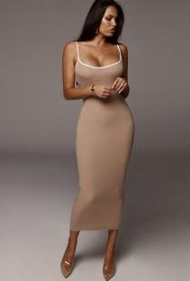 Vestido longo de verão cáqui elegante sexy com nervuras estreitas com alças finas