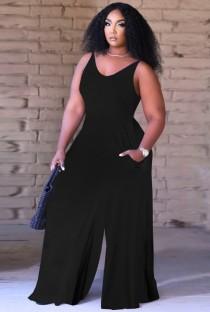 Summer Causal Black Sleeveless Loose Jumpsuit
