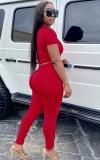 Top corto estivo rosso casual e pantaloni impilati 2 pezzi coordinati