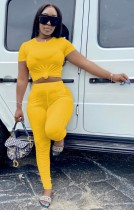 Summer Casual Yellow Crop Top and Stacked Pants 2pc Matching Set
