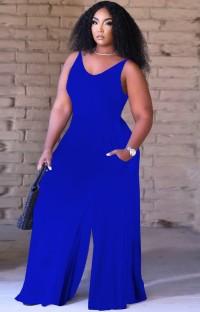 Summer Causal Blue Sleeveless Loose Jumpsuit