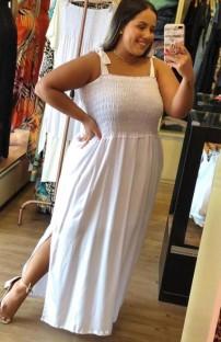 Yaz Büyük Beden Beyaz Askılı Yandan Yırtmaçlı Uzun Elbise
