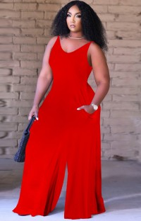 Summer Causal Red Sleeveless Loose Jumpsuit