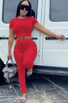 Summer Casual Red Crop Top and Stacked Pants 2pc Matching Set