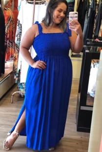 Yaz Büyük Beden Mavi Askılı Yandan Yırtmaçlı Uzun Elbise