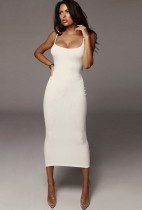Vestido largo con tirantes finos acanalados sexy elegante blanco de verano