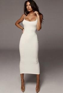 Vestido longo branco verão elegante sexy com nervuras com alças finas