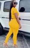 Top corto estivo casual giallo e pantaloni impilati 2 pezzi coordinati