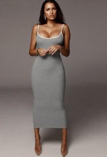 Vestido longo verão cinza elegante e sexy com nervuras estreitas com alças finas