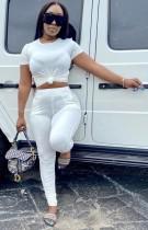 Top corto estivo casual bianco e pantaloni impilati 2 pezzi coordinati