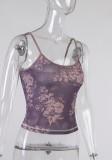 Летний сексуальный фиолетовый базовый жилет с цветочным принтом