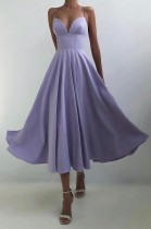 Sommer Formal Purple High Waist Strap Langes Abendkleid