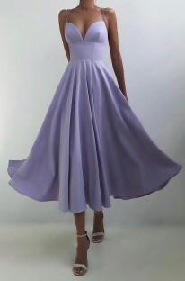 Летнее официальное фиолетовое длинное платье для выпускного с бретельками и завышенной талией