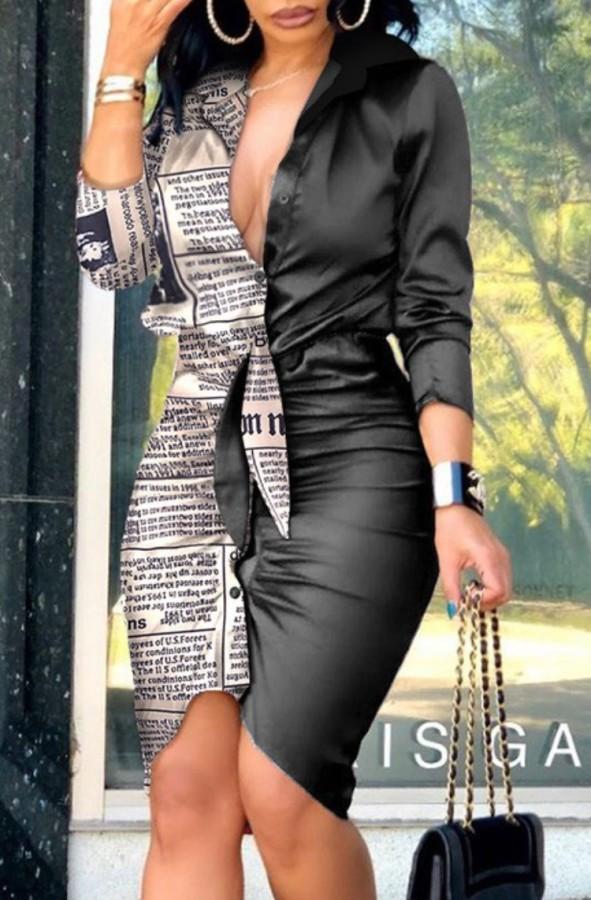 Mini vestido formal de manga comprida estampado com franzido de verão