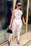 Top corto e pantaloni aderenti sexy trasparenti in maglia bianca estiva