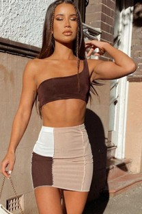 Summer Sexy Block Color One Shoulder Crop Top and Mini Skirt Set