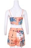 Sommer Casual Print Strap Crop Top und passende Shorts Set