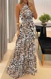 Abito da sera lungo con scollo a leopardato formale estivo