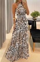Vestido de noite formal com halter de leopardo de verão
