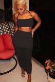 Summer Black Sexy Halter Crop Top e Midi Skirt Set