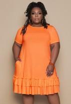 Sommer Plus Size Orange O-Neck Rüschen Hemdkleid