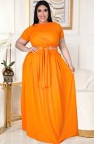 Summer Plus Size Conjunto de falda larga y top corto naranja