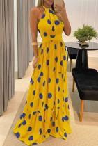 夏のフォーマルイエローポルカホルターロングイブニングドレス