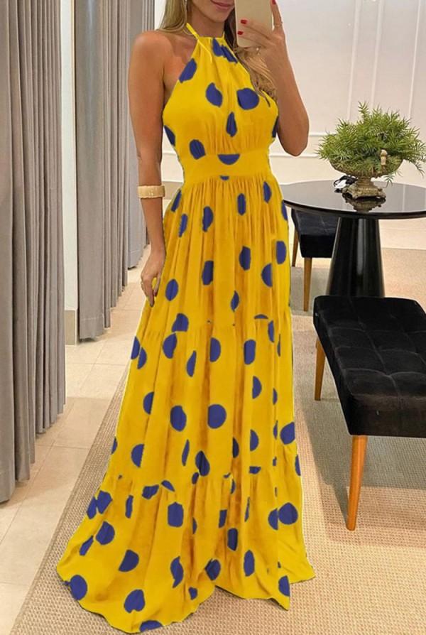 Vestido longo de noite formal de verão com halter polka amarelo