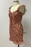 Mini vestido de tirantes sexy con volantes florales de verano