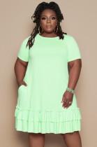 Sommer Plus Size Grün O-Ausschnitt Rüschen Hemdkleid