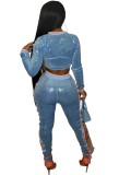 Top corto e pantaloni aderenti con lacci in due pezzi blu con paillettes estive